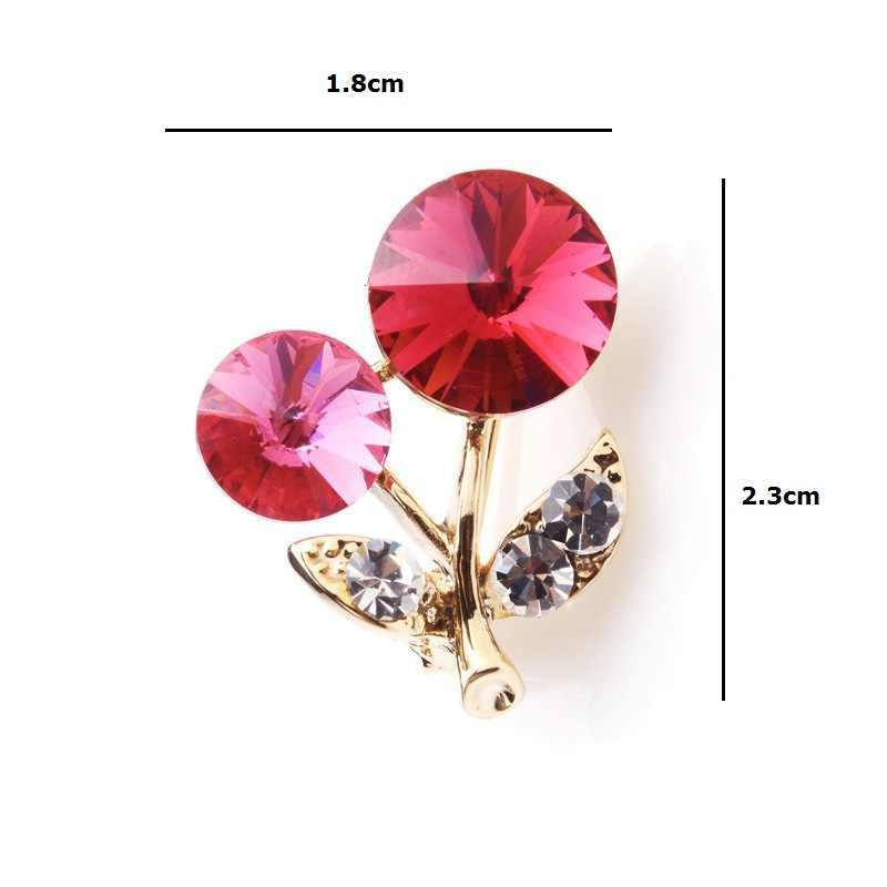 Wuli & baby Rose Rosa di Cristallo della Ciliegia Piccoli Spille Delle Donne Degli Uomini Della Lega di Frutta Collare Spilli Regali Di Natale