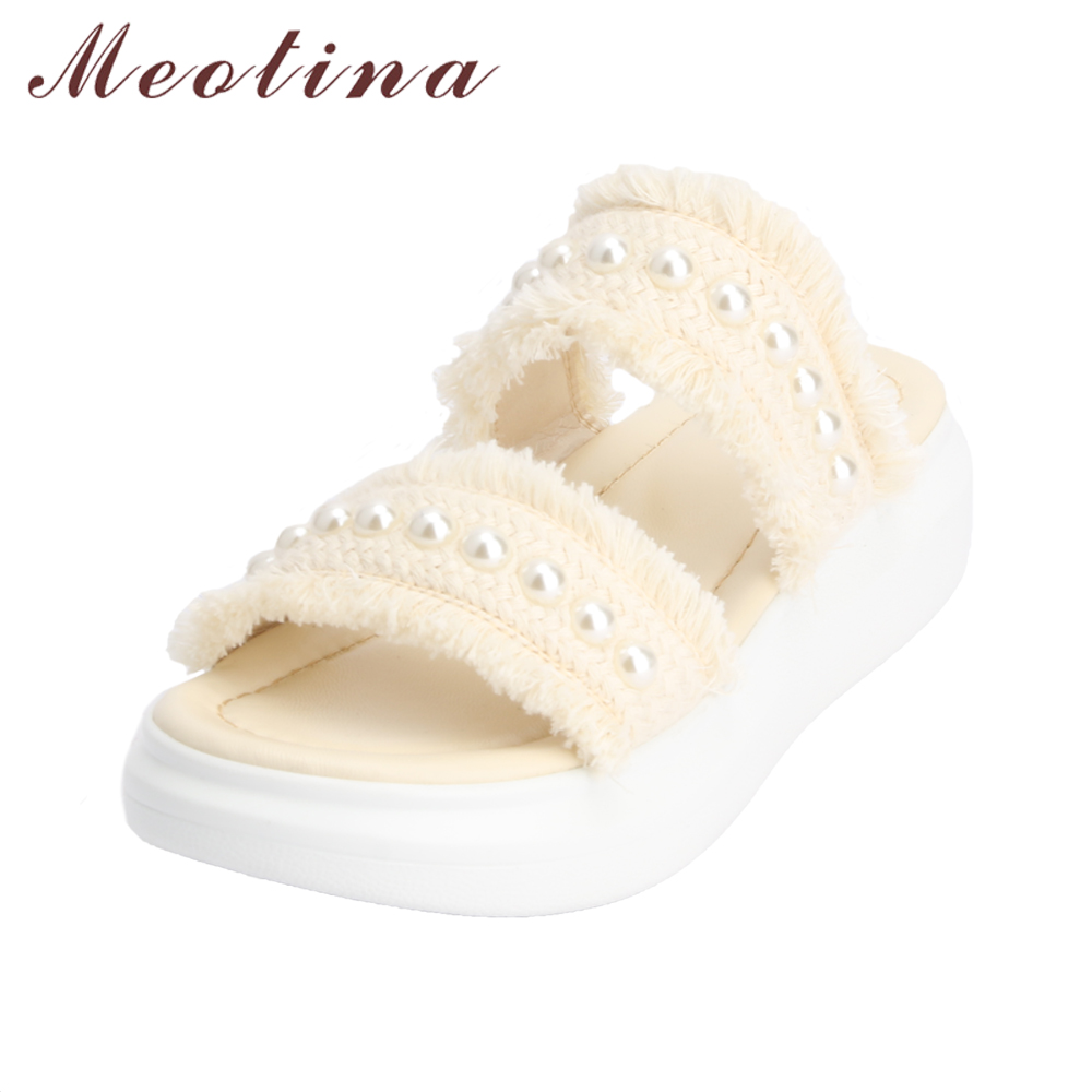 Meotina Women Slippers Platform Wedges Heels Summer Shoes Pearl 2018 Open Toe Med Heels Casual Shoes Outside Slides Big Size 43 aimeigao large size summer slides women slippers ladies flat heels shoes open toe comfortable outside slippers women shoes