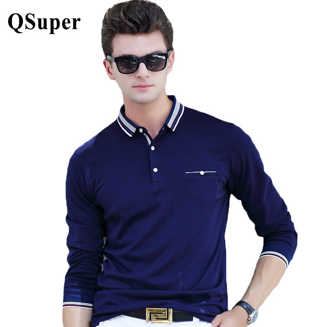 QSuper High Quality Men Polo Shirts Stripe Collar Long Sleeve Slim Fit Cotton Breathable Casual Business Luxury Brand Shirts