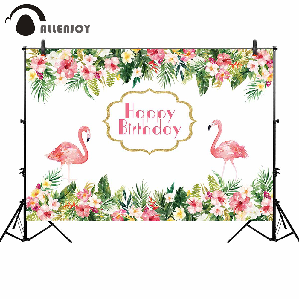 Allenjoy Photo Zone Background Colorful Tropical Flowers Nature Pink Flamingos Birthday Celebration Backdrop Wall Papers