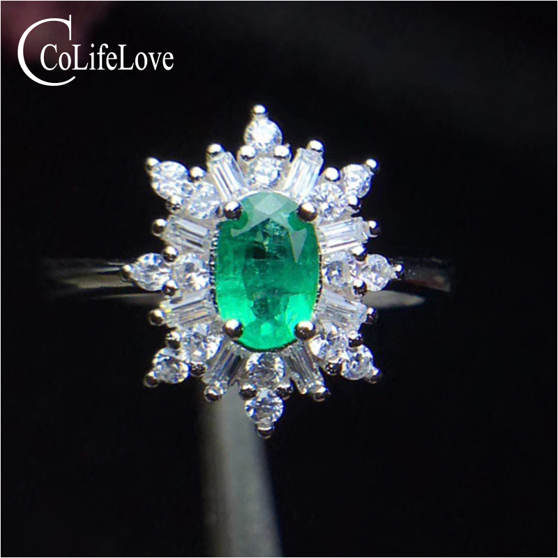 все цены на Silver Snowflake Ring for Engagement 4 mm * 6 mm 100% Natural Emerald Ring Solid 925 Sterling Silver Emerald Ring онлайн