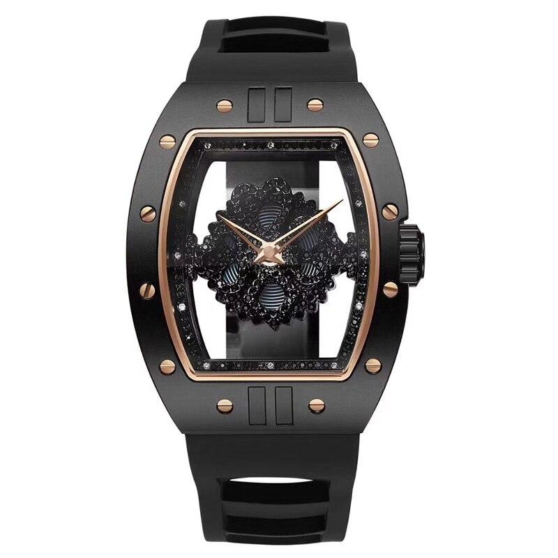 Черный полые часы Мужской Спорт Кварцевые часы Мужская Мода часы лучший бренд роскошных Водонепроницаемый часы силиконовый ремешок Сталь
