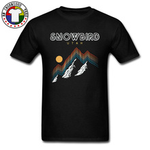 Snowbird Utah USA Ski Resort Snow Mountain T Shirts Tomography Faultage Hill Precipice Sunset Father T-Shirts Oversized Cotton andrew wyeth snow hill