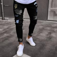 2018 nowych mężczyzn otwór dżinsy tanie tanio Denim Stałe Szczupła Casual Powlekane Proste Zamek błyskawiczny Fly Pełna długość Połowie Światła Midweight