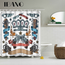 цена на Wholesale Shower Curtain Waterproof Polyester Fabric Curtain For The Bathroom Decoration With 12PCS Plastic Hooks