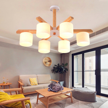 Modern Retro Lamp Wood LED Pendant Lights Dining Room Ring Lustre Kitchen Luminaire Industrial