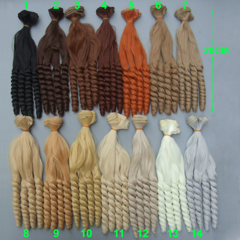free shipping 20 cm high temperature heat resistant doll hair for 1/3 1/4 1/6 BJD diy curly doll wigs 1 8 bjd sd doll wigs for lati dolls 15cm high temperature wire long curly synthetic hair for dolls accessorries high quality wig