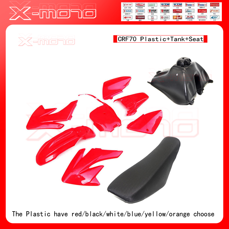 Plastic Body Fender Shell Cover Fairing Seat Fuel Petrol Tank Kit for CRF70 CRF 70 Motorcycle Pocket Pit Dirt Bike Part front plastic number plate fender cover fairing for honda crf100 crf80 crf70 xr100 xr80 xr70 style dirt pit bike
