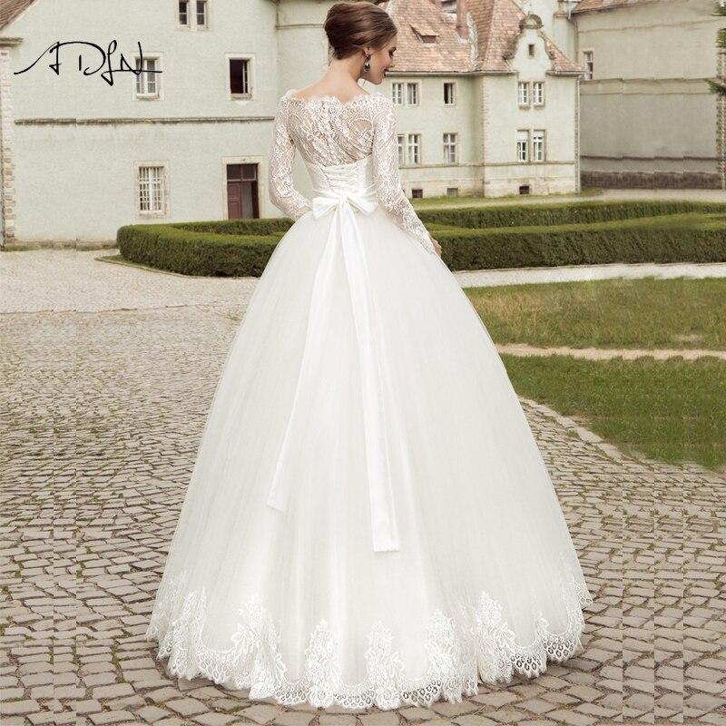 2016 Elegant Långärmad Bröllopsklänning Bollfärg Trädgård - Bröllopsklänningar - Foto 5