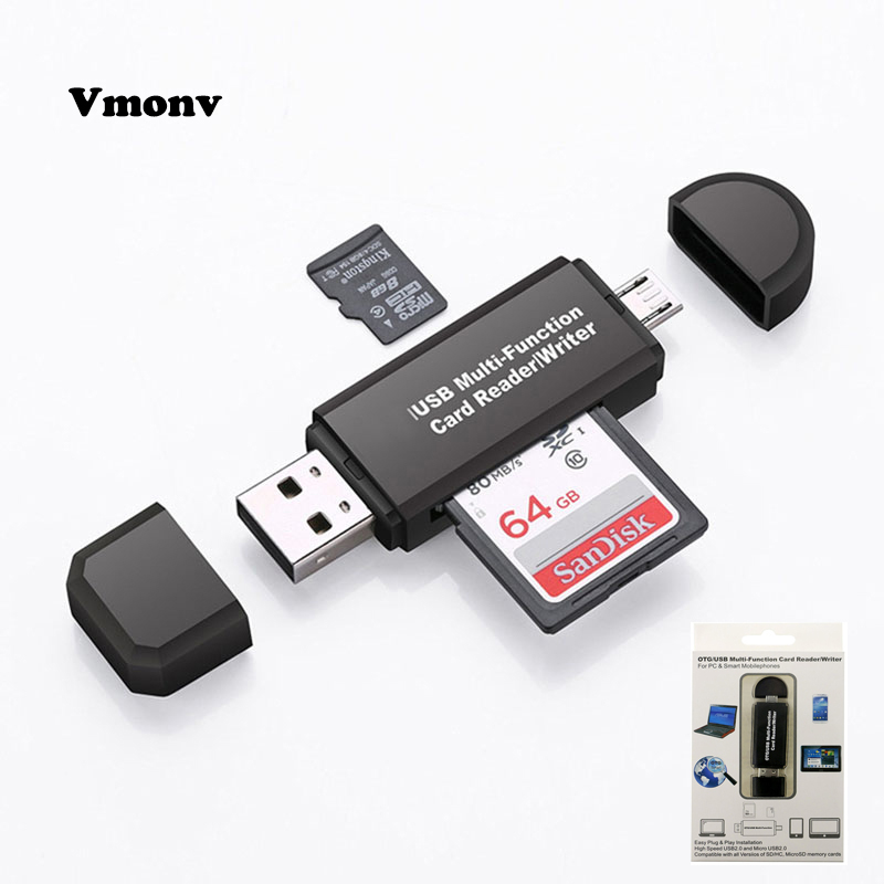 цена на Vmonv 2 In 1 USB OTG Card Reader Flash Drive High-speed USB2.0 OTG TF/SD Card for Android phone Computer PC Memory Card Reader