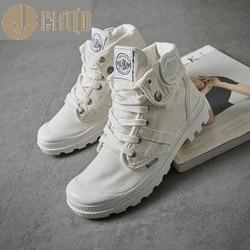 Женские кроссовки на шнурках JCHQD, белые однотонные кроссовки из парусины с высоким берцем, на плоской подошве, 2019