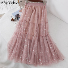 abf32d202 Spring New Stars Long Pleated Tulle Skirt Elastic Waist Mesh Tutu Skirts  Pink Black Apricot Princess