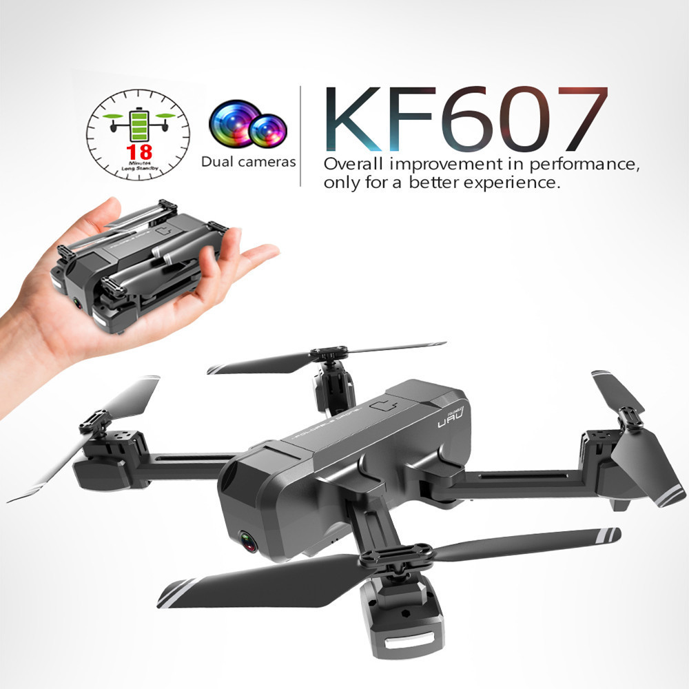 KF607 WIFI FPV RC Foldable Drone 4K Camera Ultra HD Dual Camera Drone Headless Mode One touch Landing Quadcopter Kids Gifts-in RC Helicopters from Toys & Hobbies