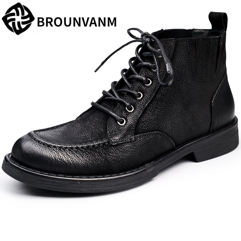 new autumn winter British retro men Martin boots, men's casual leather high shoes  zipper leather shoes breathable boots men