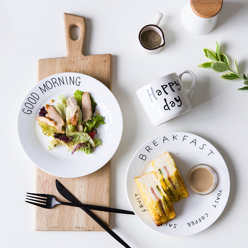 Western procelain dinner plate language good morning bonjour meici breakfast plate 8 inch 20cm round ceramic dish creative plate