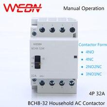 цена на BCH8-32 Series 4P 32A Manual Operation AC Household Contactor 230V/250V 50/60Hz Contact 4NO/2NO2NC/3NO1NC/4NC Din Rail Contactor