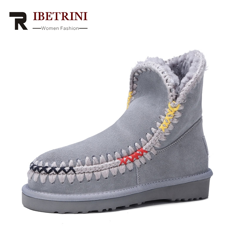 RIBETRINI 2017 Fashion Comfortable Cow Suede Sewing Ankle Snow Boots Warm Fur Platform Med Wedges Women Shoes Size 34-39 цена