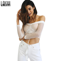 LAISIYI Sexy Club Polka Dots Mesh Top Slash Neck Off Shoulder Tops For Women White T