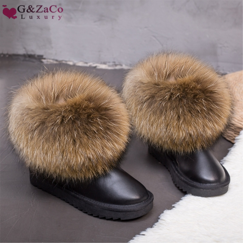 Rebajas G & Zaco Luxury Winter Natural Real Big Fox Fur Boots Botas para la nieve de cuero genuino de gamuza genuina Botas cortas antideslizantes para mujer