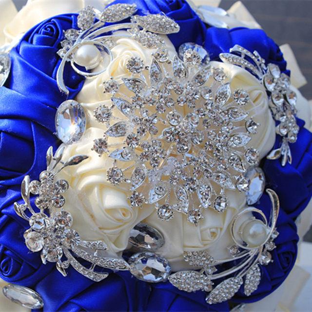 Online shop noble customized royal blue white bridal wedding bouquet noble customized royal blue white bridal wedding bouquet diamond flower brooch silk roses ribbon wedding bridesmaid bouquet w283 mightylinksfo