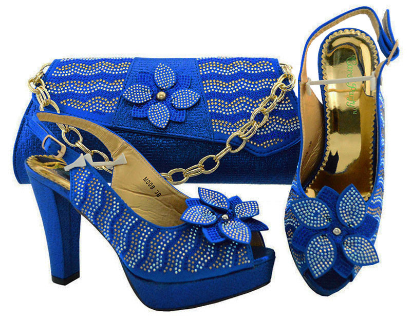 Royal Blue Color Italian Shoes with Matching Bags for party Italy African Women Shoe and Bag Set With Crystal Nigerian Wedding стоимость