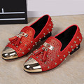 Rivets Studded Espadrilles Men Casual Flat Shoes Red Rhinestone Decor Loafers Wedding Dress Shoes Mocassin Homme Flats Creepers