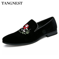 Tangnest Brand Luxury Embroidery Oxfords For Men Pointed Toe Slip On Dress Shoes Solid Suede Leather