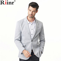 Riinr 2017 Fashion New Arrival Blazer Men Spring High Quality Cotton Blends Solid Color Single Button