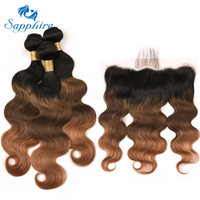 Sapphire Lace Frontal With Bundles Ombre Tb427 Peruvian Human Hair Weave 3 Bundles With Closure NonRemy Body wave Hair