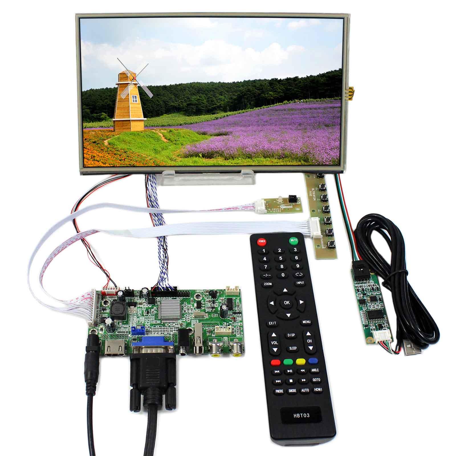 HDMI VGA 2AV USB Audio LCD Controller Board With 10.1 B101XAN01 1366x768 Touch LCD PanelHDMI VGA 2AV USB Audio LCD Controller Board With 10.1 B101XAN01 1366x768 Touch LCD Panel