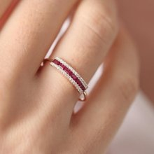Fashion New Design Women White Sapphire/Ruby Diamonds Ring 18K Rose Gold Lovers Ring Jewelry Size 6-10(China)