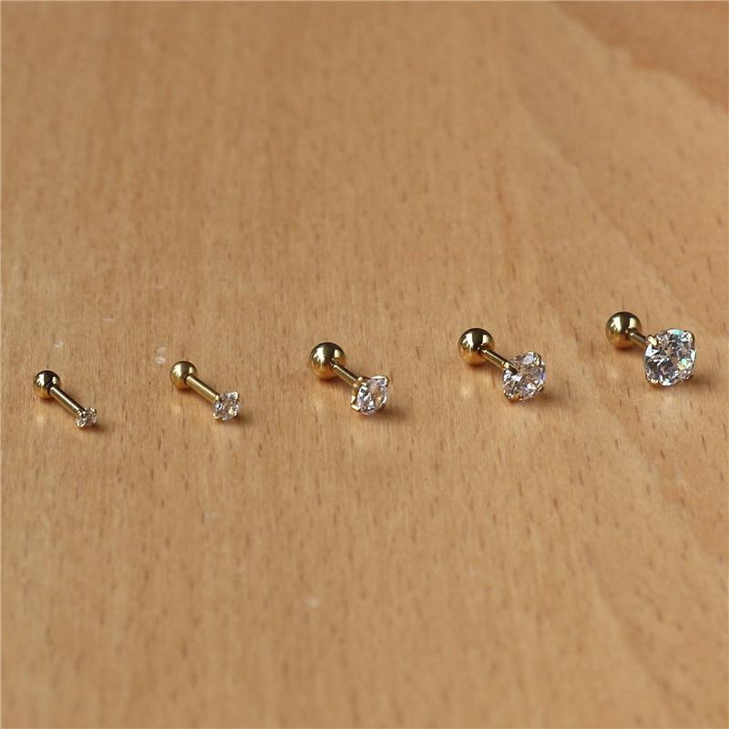 Серьги-гвоздики из нержавеющей стали 316l с фианитами, 2-8 мм