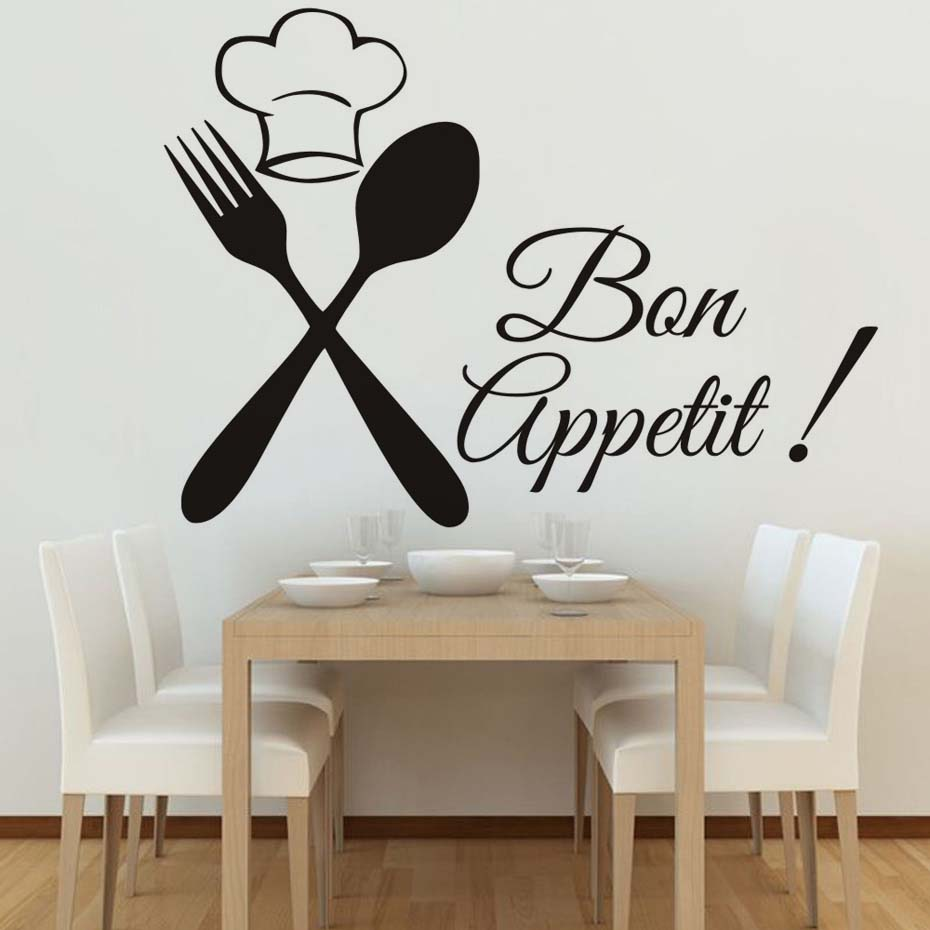 Food Meal Wall Stickers Spoon Folk Waterproof Art Vinyl Decal Cafe ...