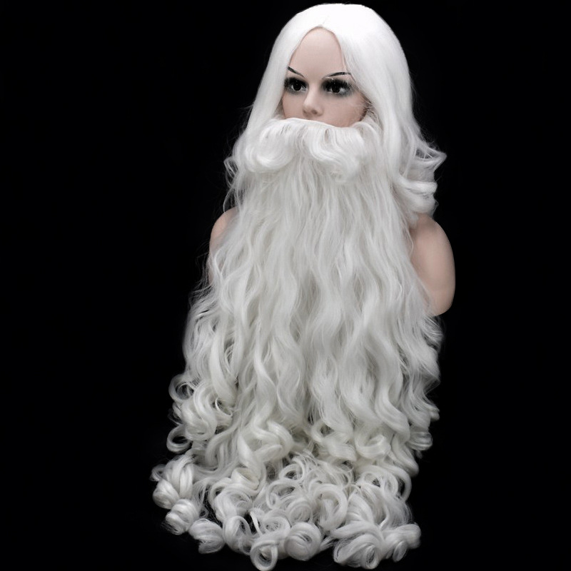 80cm Christmas Cosplay Wig Beard Santa Claus Cosplay Wig White Curly Long Synthetic Hair Wigs For Adult + Wig Cap