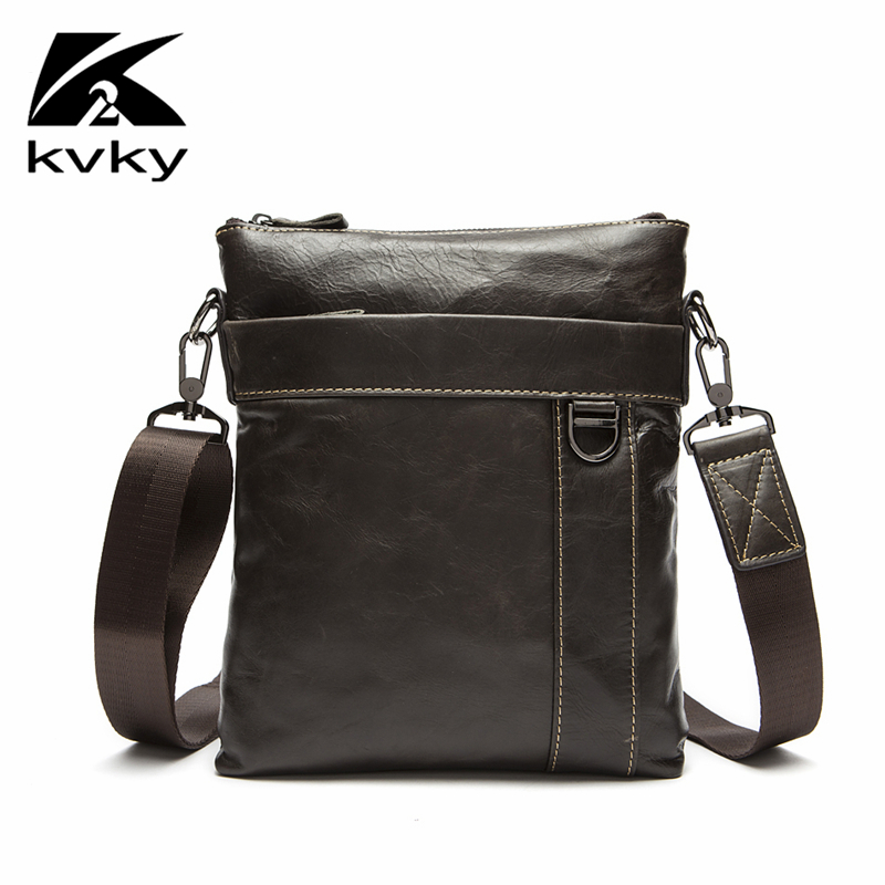 KVKY Casual Men Bag Genuine Leather Men Shoulder Bags New Brand Male Cowhide Leather Business Crossbody Bag Casual Shoulder Bag