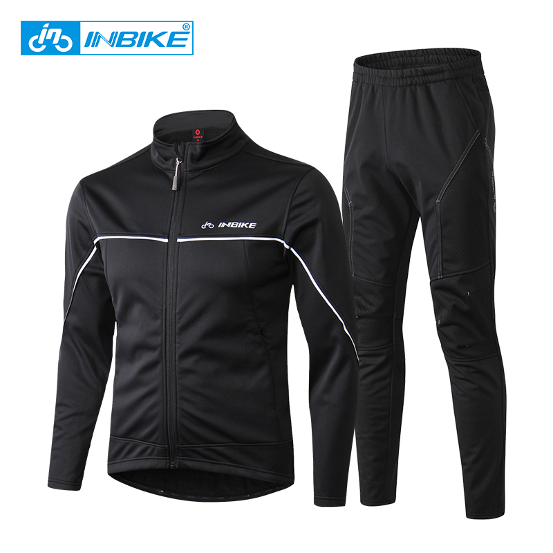 INBIKE Winter Thermal Cycling Jacket Riding Suits Outdoor Sport Clothes Pants Travel Climbing Hiking Warm Long Sleeves Bike Suit winter men outdoor running jacket suits cycling suits long sleeve jacket tights pants sport wear sets