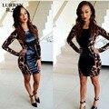 LURRSN Европа и Америка 2017 Мода Короткие Обтягивающие Платья Для Женщин Leopard Платье С Длинным Рукавом Дамы Сексуальная ИСКУССТВЕННАЯ Кожа Платье