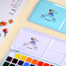 24/ 36 Colors Solid Watercolor Paint Set Not-toxic Watercolor Paints Portable Metal Case with Palette and Art Paint Brushes