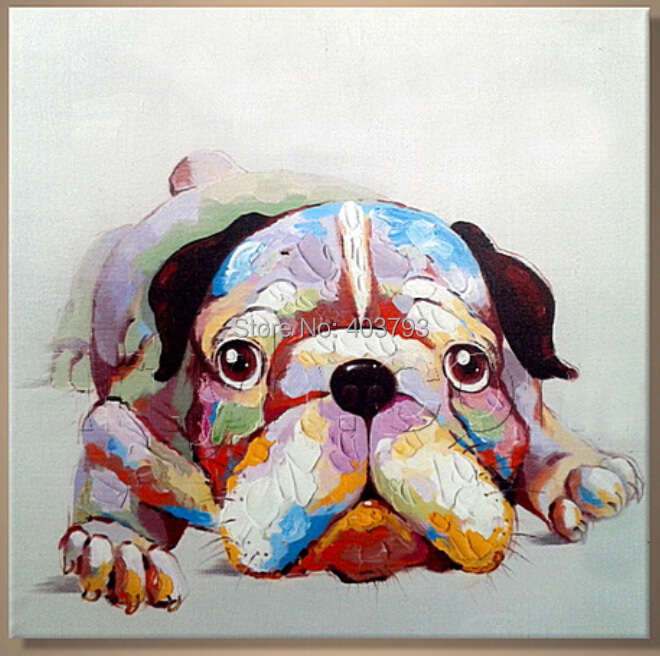 modern fashion hand painted oil painting on canvas abstract colorful dog free shipping