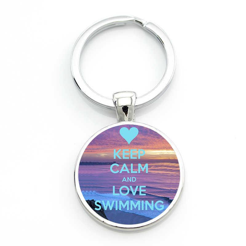 TAFREE nueva marca mantener la calma y el amor natación llavero verano deportes joyería llavero anillo soporte club regalos para hombres las mujeres SP388