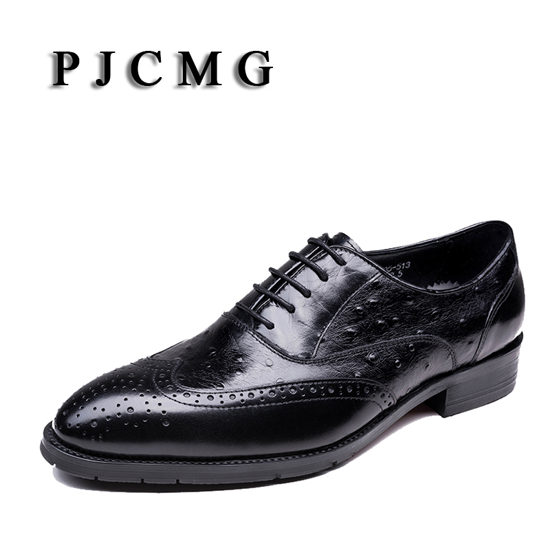 PJCMG New Crocodile Grain Black/Red Oxfords Shoes Mens Dress Genuine Leather Lace Up Wedding Mens Business For Work Shoes