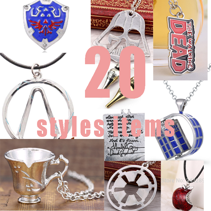 10 pcs Necklace Doctor who Legend of Zelda Grey Anatomy The Walking Dead Apple Assassins Creed Star Wars Game of Thrones D953