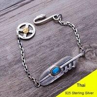 Mode 925 Sterling Silber Vintage Blau Türkis Adler Feder Armband Frauen Thai Silber Geschenk Schmuck CH056277