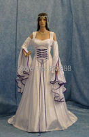 New Arrival Direct Selling Natural Satin Handfasting Medieval Movie Dress Lotr Renaissance Fantasy Gown Custom Made/Princess
