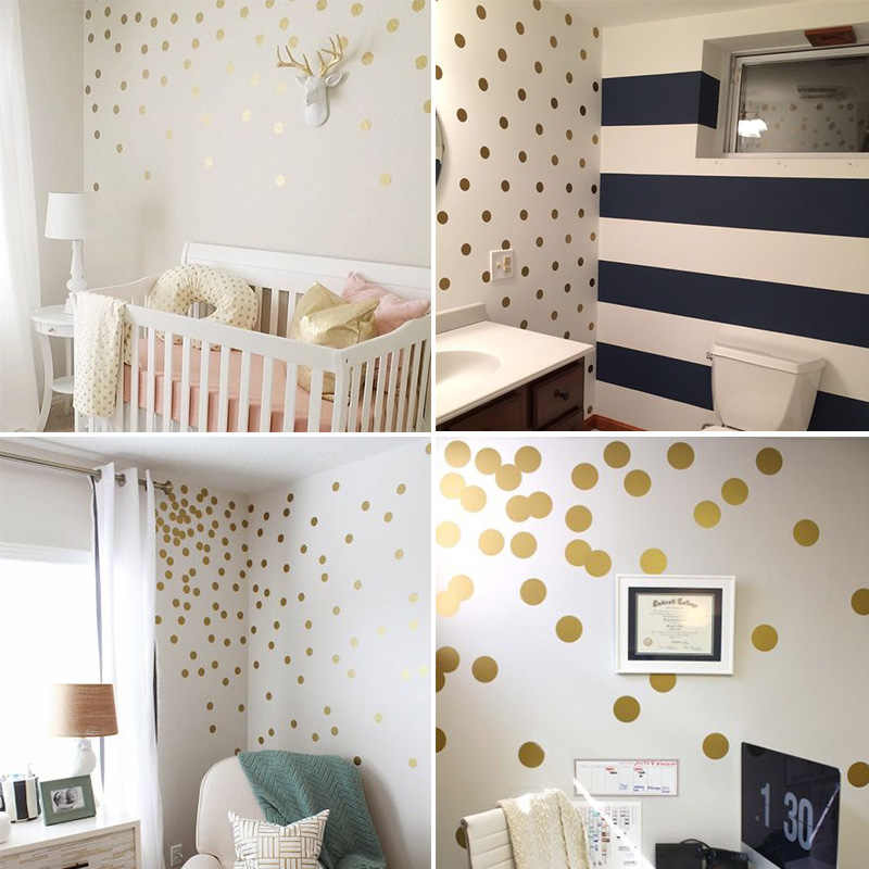 Gold Polka Dots Kids Room Baby Wall Stickers Children Home Decor Nursery Decals For Wallpaper