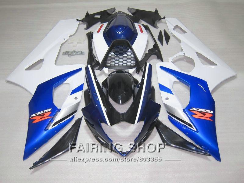 100% подходит литья под давлением обтекатель комплект для Suzuki GSXR1000 К5 К6 синий белый черный обтекатели комплект GSXR 1000 05 06 IK41