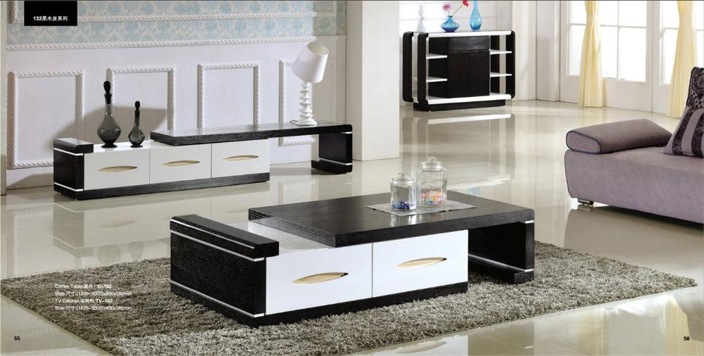 Meuble Tv Hifi Blanc Modern Balck Wood Furniture Tea Coffee Table Tv Cabinet