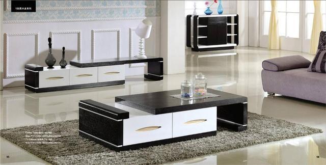Modern Balck Wood Furniture Tea Coffee Table TV Cabinet Set, Smart Home  Furniture Factory Price