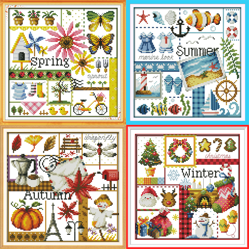 Joy Sunday Spring summer autumn winter map cross stitch pattern kits handcraft make embroidery with chart