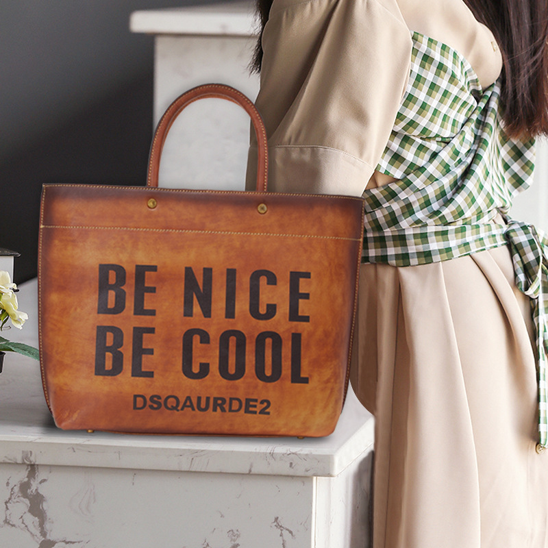 Luxury bucket type vintage genuine leather women handbags first layer cowhide letters decorative personality women shoulder bags